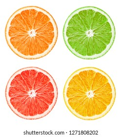 composition of citrus slices on an isolated white background