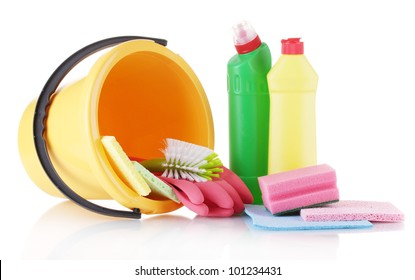Composition of cleaning products with a bucket isolated on white