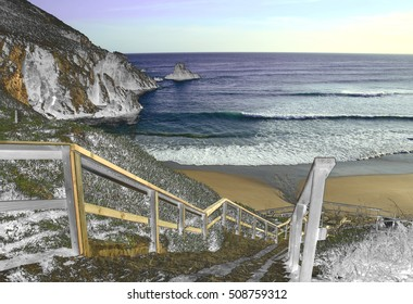 composition of cliffs and beaches,photography surreal beach Ferrol,Coruna Galicia, Spain, abstract surrealism,Stone arches formed by the erosion of the sea and the wind,