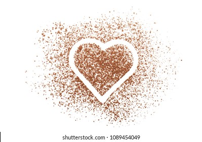 Composition with cocoa powder on white background