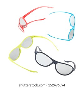 Composition with colorful 3d glasses floating on white background.