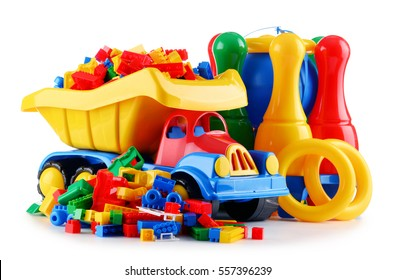 Composition with colorful plastic children toys isolated on white.