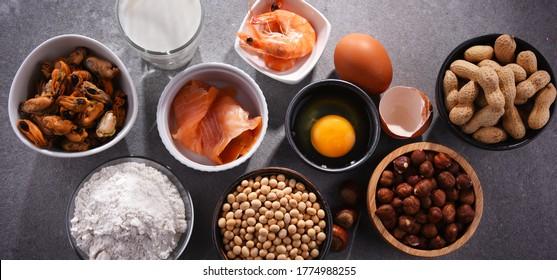 Composition avec allergènes alimentaires courants, y compris les oeufs, le lait, le soja, les arachides, les noisettes, le poisson, les fruits de mer et la farine de blé