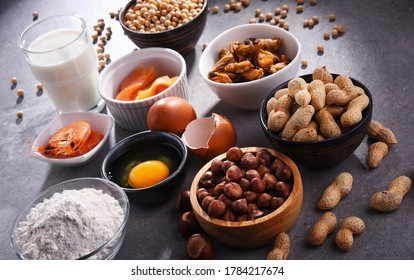 Composition with common food allergens including egg, milk, soya, peanuts, hazelnuts, fish, seafood and wheat flour