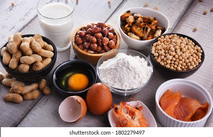 Composition with common food allergens including egg, milk, soya, peanuts, hazelnut, fish, seafood and wheat flour