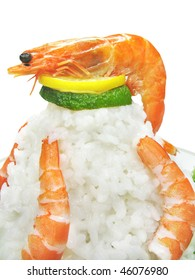 composition of cooked shrimps with rice and green cauliflower