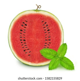 Composition with cutted watermelon and sprig of mint isolated on a white background with clipping path.