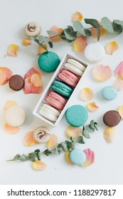 Composition of delicious macaroons in gift box, sweet desserts