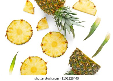 Composition with delicious sliced pineapple on white background