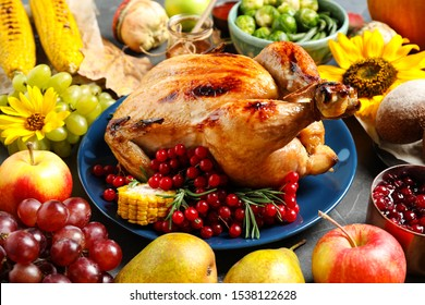 Composition with delicious turkey on grey background. Happy Thanksgiving day