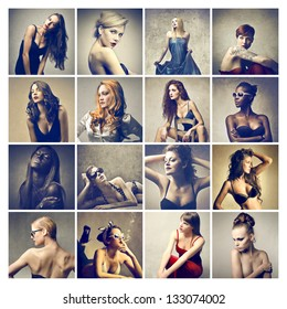 composition of different beautiful women