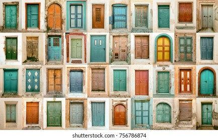 composition of different colorful old doors in santorini greece