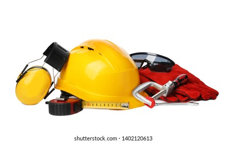 Composition with different construction tools isolated on white