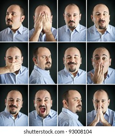 Composition of different expressions of the same man on dark background.