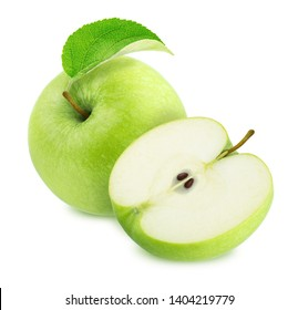Composition with Different Green Apples Isolated on White Background