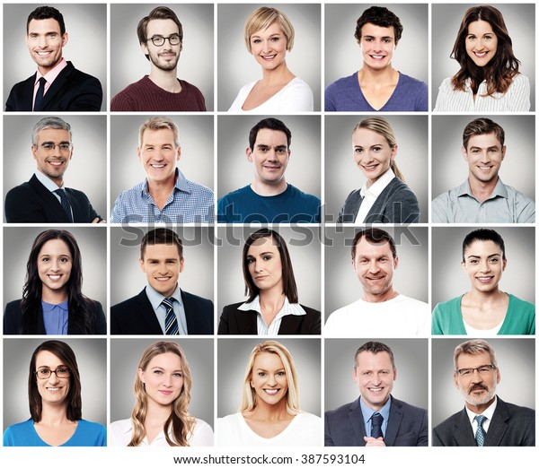 Composition of diverse people smiling