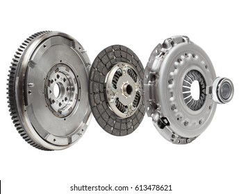 the composition of the elements of car repair kit clutch manual gearbox isolated, on a white background