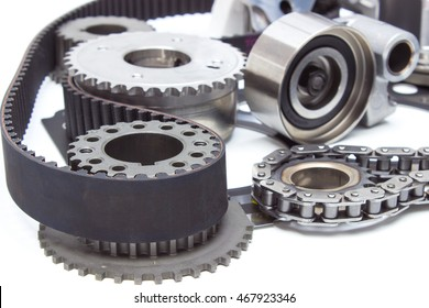 the composition of the elements of the engine timing mechanism of the engine. chain, belt, star, gear, tensioner and cylinder head gasket