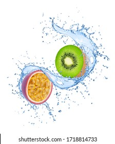 Composition with exotic fruits - kiwi and passion fruit in water splashes isolated on white background.
