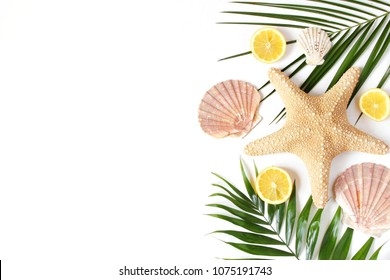 Composition of exotic seashells, oysters, starfish and lemons on lush green palm leaves isolated on white wooden background. Tropical summer vacation concept. Flat lay, top view