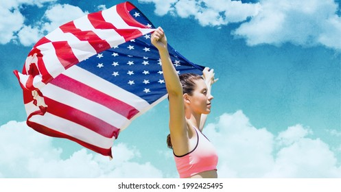 Composition of female athlete holding american flag against clouds on blue sky. united states of america patriotism and independence concept digitally generated image.