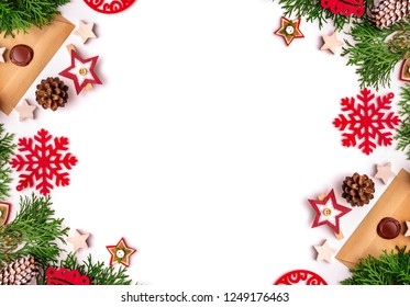 Composition from festive objects of New Year and Christmas on a white background.