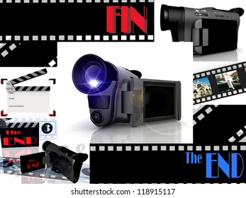 composition  of film images and video