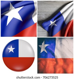 Composition of four 3d rendering of Chile flags waving