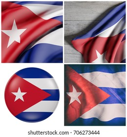 Composition of four 3d rendering of Cuba flags waving