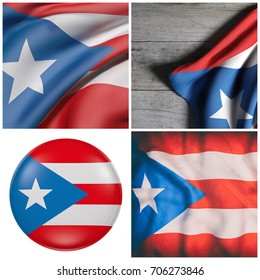 Composition of four 3d rendering of Puerto Rico flags waving