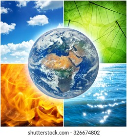 Composition of the four natural elements and Earth. Elements of this image furnished by NASA.