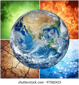 composition of the four natural elements and Earth ( The image of the Earth from www.nasa.gov)