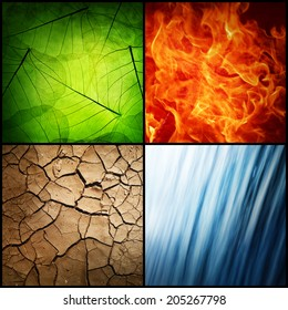 composition of the four natural elements ( grunge background)