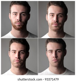Composition of four portraits of the same man with and without beard