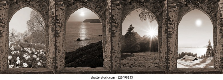 composition of four ruin arched windows with seasonal landscape, retro style