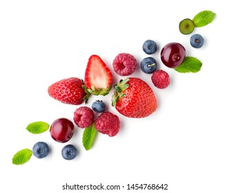 composition of fresh berries isolated on white background, top view