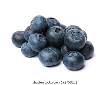 composition from a fresh bow blueberry  on the white isolated background