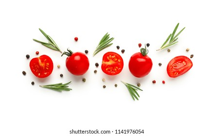 Composition with fresh cherry tomatoes on white background
