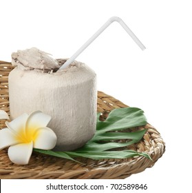 Composition with fresh coconut water in nut on white background