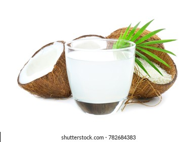 Composition with fresh coconut water on white background