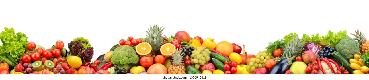 Composition fresh fruits and vegetables isolated on white. Glass skinali.
