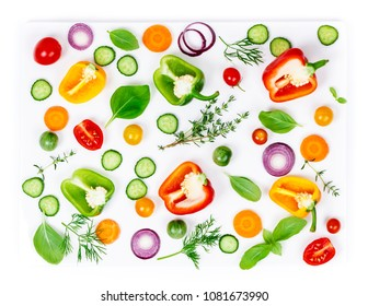Composition of Fresh organic vegetables on white background