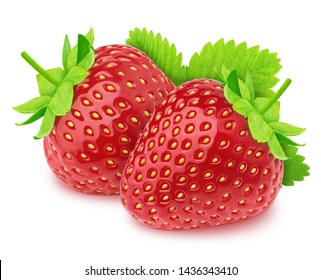 Composition with fresh strawberry and leaves isolated on a white background.