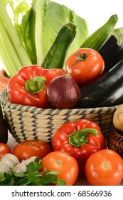 Composition with fresh vegetables and kitchen dish