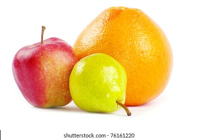 Composition with fruits isolated on white