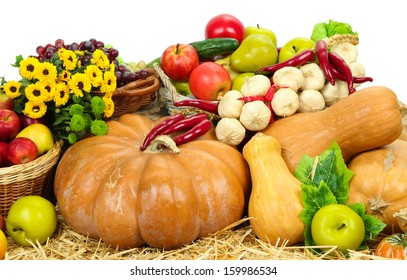 Composition with fruits and vegetables isolated on white
