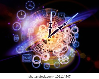 Composition of gears, clock elements and abstract design elements as a concept metaphor on subject of scheduling, temporal and time related processes, deadlines, progress, past, present and future