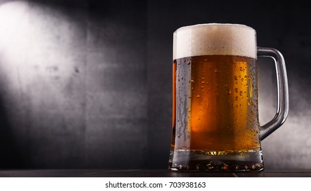 Composition with glass of beer.