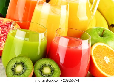 Composition with glasses of assorted fruit juices. Detox diet - Shutterstock ID 232855774
