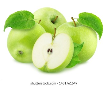 Composition with Green Apples Isolated on White Background